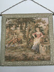 """Vtg French Tapestry Aubusson Style Romantic Wall Hanging Country leaving 11""""x11"""""""