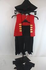 Pirate Costume Childrens 6 Piece Hat, Boot Covers, Pants, Vest, Eye Patch SZ 3