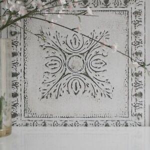 Powder Coated Tin Tile Effect Wallpaper | White & Metallic Silver / Grey