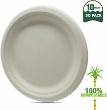 "Biomundi 100% Compostable 10"" Paper Plates [50-pack] Heavy-duty Disposable"