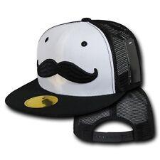 Black & White Mesh Moustache Mustache Trucker Style Flat Bill Snapback Cap Hat