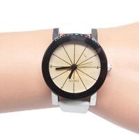Unisex Women Men Leather Stainless Steel Wristwatches Analog Quartz Wrist Watch