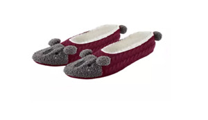 HUE Womens Pet Shues Slippers Socks Bear Design Maroon/ Gray SIZE SMALL 5-6 New