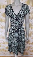 Connected Apparel Size 8 Women's Cap Sleeve Stretch Floral Dress Career Causal