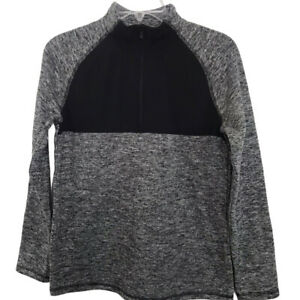 All In Motion NWT Boys' Fleece 1/4 Zip Pullover Sweatshirt in Gray and Black