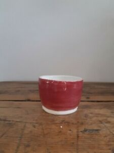 Handmade Pottery Bowl with Red and White Glaze
