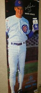 VINTAGE 1980S MARK GRACE CHICAGO CUBS BASEBALL MLB FULL HEIGHT POSTER DEANS MILK