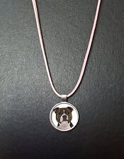 """Staffordshire Bull Terrier Pendant On a 18"""" Pink Cord Necklace With Clasp N68"""