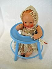 "Antique German Bisque Pacifier Baby Doll~small~3""~Hertwi g~ with walker"
