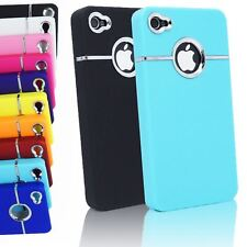 LUXURY DELUXE CHROME TRIM PLASTIC BACK COVER CASE FOR IPHONE 4S & 4 4G
