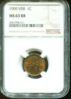 1909 Lincoln Cent VDB NGC MS63RB Mint State 63 Red Brown