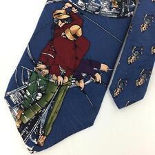 TANGO MAX RAAB NAVY BLUE GOLF GOLFING Silk Men Neck Tie N4-57 Excellent