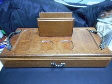 VINTAGE WOODEN DRESSER/DESK BOX WITH HANDLES AND SLIDE OUT DRAWER