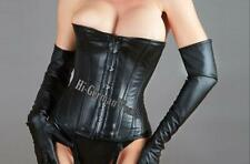 Half Breast Corset Black Leather Corsage Gothic Halfbust Leather Corsets Hi-318