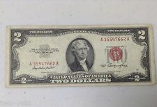 US NOTE $2.00 1953 RED SEAL UNITED STATES NOTE A35547662A  FREE SHIPPING