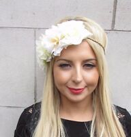 Ivory Cream Rose Flower Garland Headband Headpiece Festival Boho Hair Crown 3423