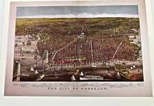 1879  City of Brooklyn and It's Harbor Reprinted 14x11 Offset Lithograph Unsigne