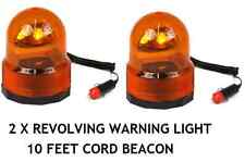 2 X12V AMBER FLASHING BEACON 25W REVOLVING HAZARD / RECOVERY / BREAKDOWN LIGHT