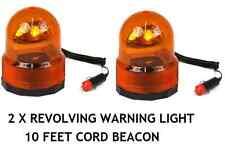 2 X12V AMBER FLASHING BEACON 25W REVOLVING HAZARD / RECOVERY / BREAKDOWN LIGHT