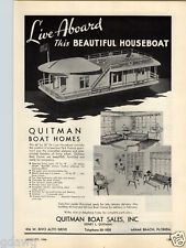 1946 PAPER AD Quitman Boat Sales Houseboat Boat Home Palmer Scott Wood Pussy