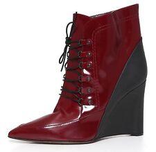 Derek Lam Wedge Heel Booties Patent Leather Burgundy Women Sz 7 B 1428*