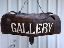 ANTIQUE HAND CARVED WOODEN WATER BUFFALO BELL/ GALLERY SIGNAGE