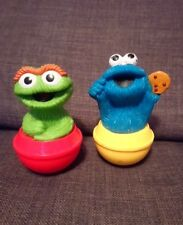 Sesame Street Oscar The Grouch and cookie monster Weeble vintage Figure bundle