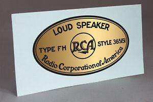 RCA FH HORN WATER SLIDE DECAL FOR RADIO SPEAKER DRIVER HORN RESTORATION