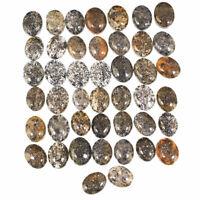 44 Pcs Natural Black Sunstone Glittering 8mm-9.77mm Ring Size Cabochon Gemstones