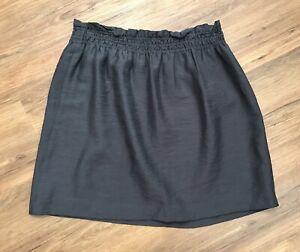 J. CREW NEW Women Brown Sidewalk Mini Skirt Silky Lined Elastic Waist Pull On 10