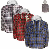 Mens New Quilted Thick Lumberjack Padded Hooded Check Work Shirt Jacket M-3XL