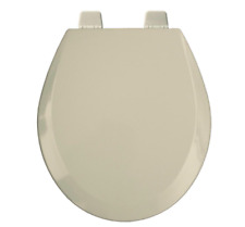 Bemis Round Open Front Toilet Seat Lid Cover Beige Wood Hardware Hinges Bumpers