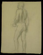 Dessin académique 1900 G. Banabéra Homme de dos atelier étude fusain