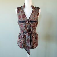 Anthropologie Elevenses Geo Print Belted Safari Vest Womens Sz S Excellent Cond