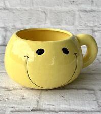 Yellow Smiley Face Mug Coffee Cup Soup Bowl Happy Smile Cheerful 16 Oz Emoji