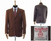 Mens HARRIS TWEED Blazer Coat Jacket Two Button Checked Brown Size 44 54