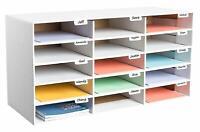 AdirOffice White Corrugated Cardboard 15 Slot Classroom File Organizer