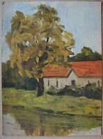 Russian Ukrainian Soviet Oil Painting impressionism landscape autumn house 1950s