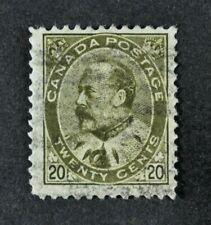 CANADA, KEVII, 1903, 20c. deep olive-green value, SG 186, used condition Cat £38