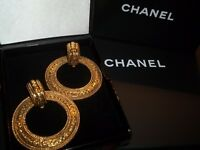 Authentic Vintage CHANEL Iconic Jumbo Two Way Clip On Earrings W/ Box