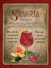 SANGRIA  COCKTAIL RECIPE METAL SIGN :HOME BAR:PUB:BAR:CAFE:  LOVELY GIFT