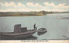 B73/ Oak Harbor Ohio Postcard 1909 Portage River Scene Boat Dock West