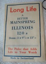 Vintage No s Long Life Illinois Mainspring Fits 12/0 S in factory package