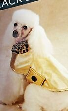 Gold with leopard trim dog raincoat / snowcoat / All weather coat for dogs