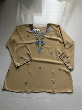 Women's Multi Color Traditions 3/4 Sleeve Embroidery  Plus  Tunic sz 18