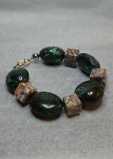 Chrysocolla, Leopard skin Jasper & 925 silver bead handmade bracelet