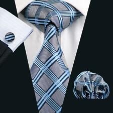 SN-400 Mens Blue Plaid Checks 100% Silk Tie Set Jacquard Woven Party Necktie Set