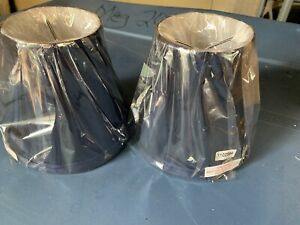 Striking PAIR Navy Blue Lamp Shades Set 2 Silk Lampshades