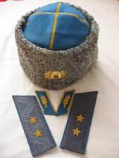 UdSSR General Luftwaffe Papaha Winter Mütze +1Par Schulerklappen + 1Par Kragen
