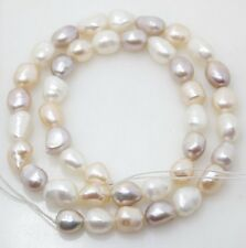 """natural pearl white pink lavender baroque 8mm*10mm loose beads gem stone 14""""long"""